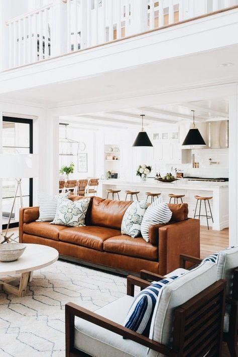 Trend Alert: Tan Leather - Have you been pinning this trend as of late? You're not the only one! My Pinterest page is sprinkled with all kinds of tan leather furniture and accessories. Tan leather is an instant classic - a material that ages well and lasts longer than any piece of fabric.Image: Studio McGee