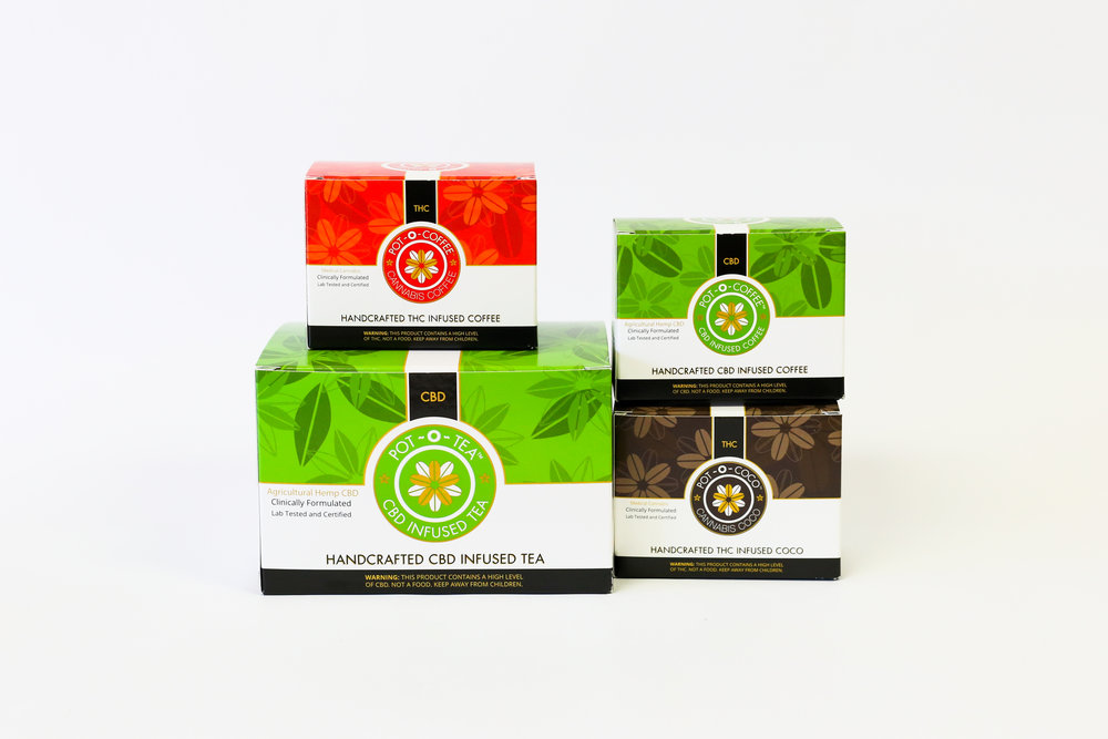 Pot-o-coffee THC CBD Infused coffee edibles cannabis packaging