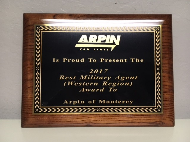 Arpin Van Lines has named MONTEREY TRANSFER & STORAGE, INC. as the 2017 Best Military Agent Western Region. Read the quote below to discover what David Arpin said about our achievement.