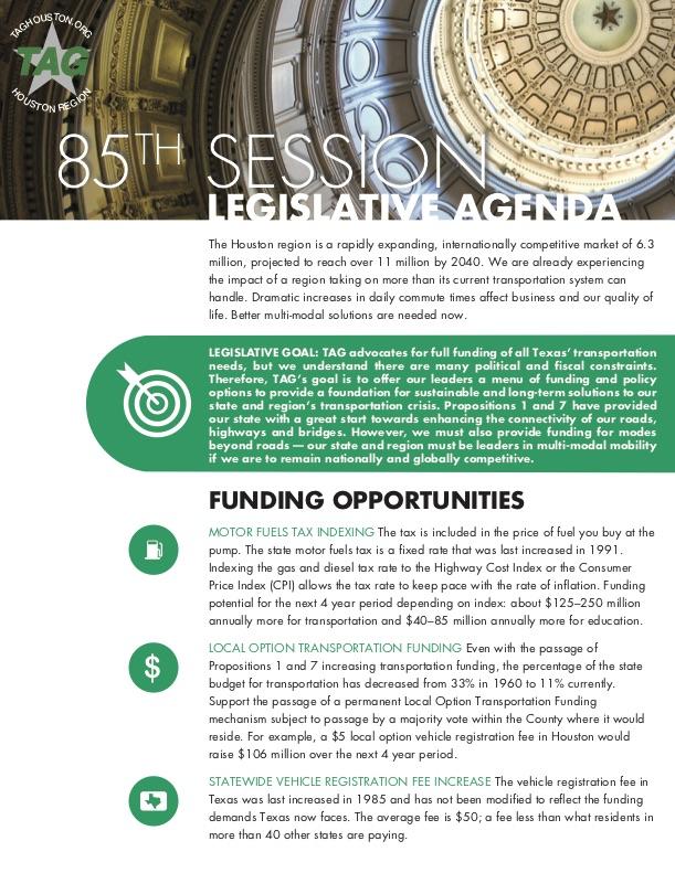 Download a PDF of TAG Houston's 2017 State Legislative Agenda.