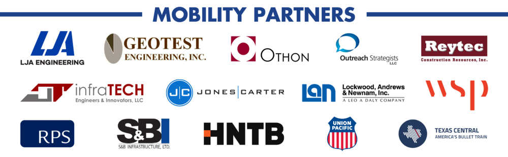 TAG Houston Mobility Partners 2018. LJA Engineering, Geotest Engineering, Inc., Othon, Outreach Strategists LLC, Reytec Construction Resources Inc., infraTECH LLC, Jones Carter, Lockwood Andrews and Newman Inc., WSP, RPS, S&B Infrastructure LTD., HNTB, Union Pacific, Texas Central