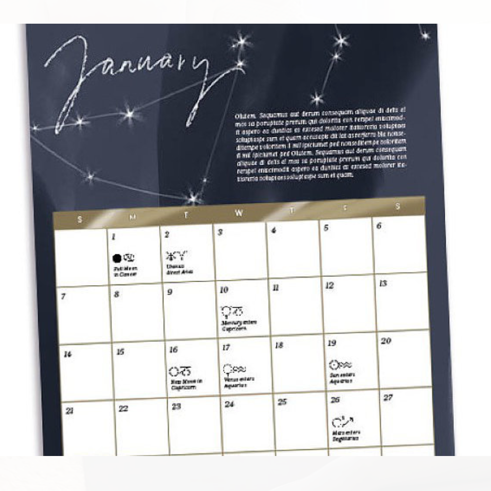 $34. Learn more about this moon calendar  here.