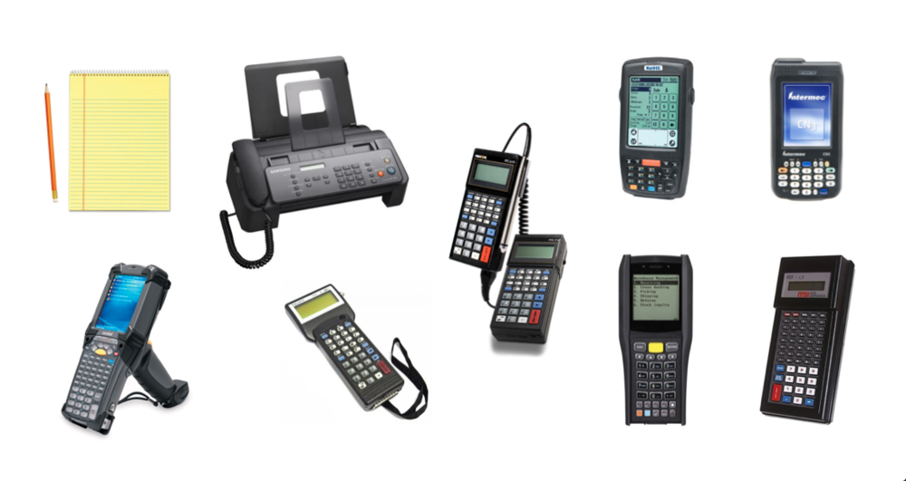 "Some of KeHE's existing ordering solutions, before the KeHE Connect Order app. The most ""modern"" solution here is the Telxon device, pictured in the top right."