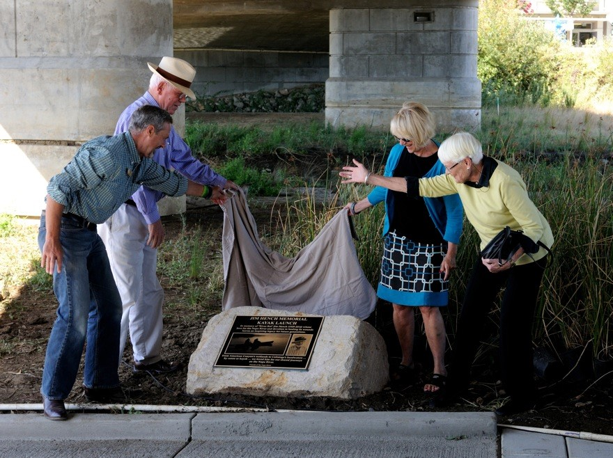 Supervisor Brad Wagenknecht, FONR President Bernhard Krevet, Mayor Jill Techel and FONR founding President Moira Johnston Block unveil the plaque commemorating the new Jim Hench Memorial Kayak Launch. Photos by Lowell Downey.