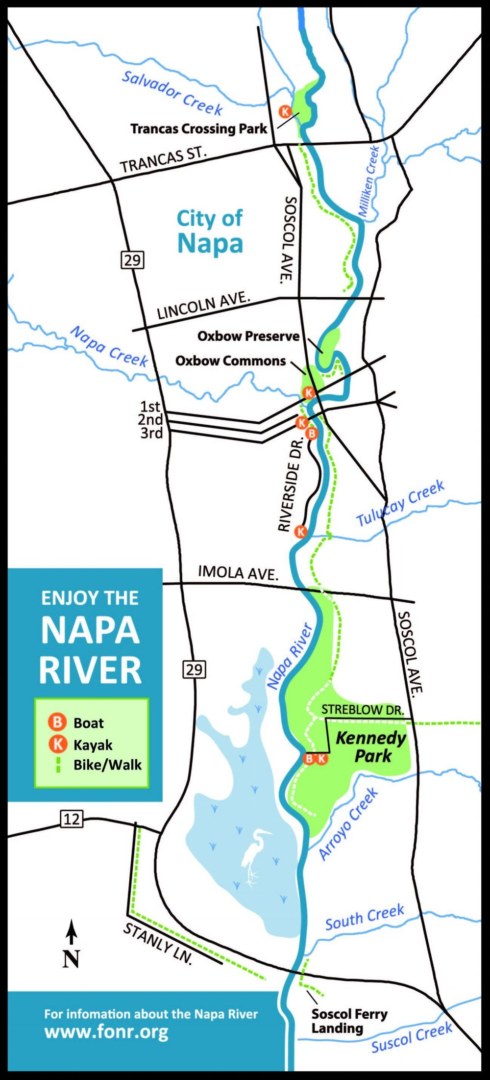 The Living River Flood Project is transforming the River & waterfront in Napa: restored mudflats and tidal marsh creates habitat for fish, birds and wildlife... and places to recreate! - Here are some locations to bike, walk, or launch a kayak, canoe or paddle board and explore the Living River