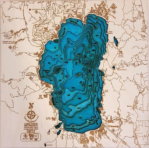 Mini Lake Tahoe 3D Wood Map