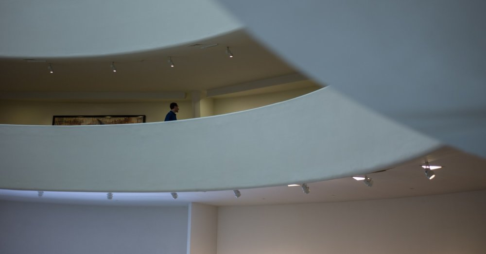 You might say the Guggenheim is the ideal place to view art. Because of its form, it interacts with its visitors in ways other museums cannot. And, it invites its visitors to interact with each other.