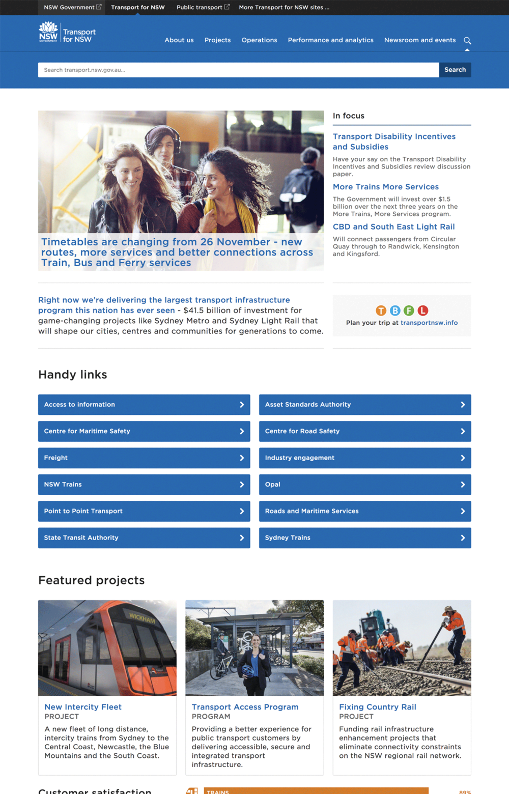 Transport for NSW website preview