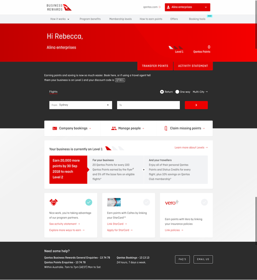 Qantas Business Rewards website preview