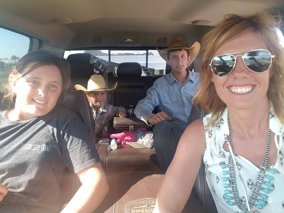 The Kids, Lakyn Coco, and myself...... living the dream. We had a huge 3 day rodeo weekend. Here we are hustling down the road trying to make the next rodeo for the day.