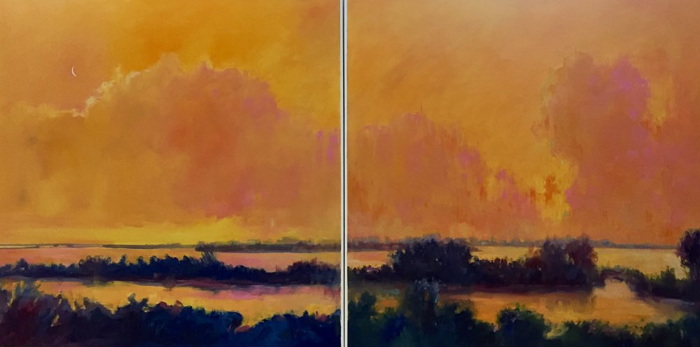 "Tangerine Sky Diptych  30"" x 60"" x 2""  Oil on Ampersand Panels"