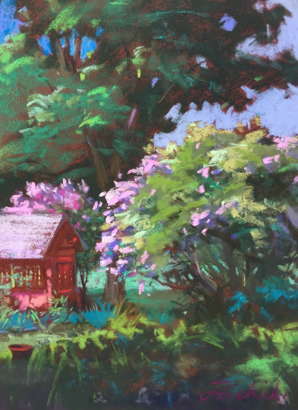 A pastel from the early 2000's still in my collection is a sample of what I was learning when working with a nine step value scale, prismatic color and capturing the greens in nature.