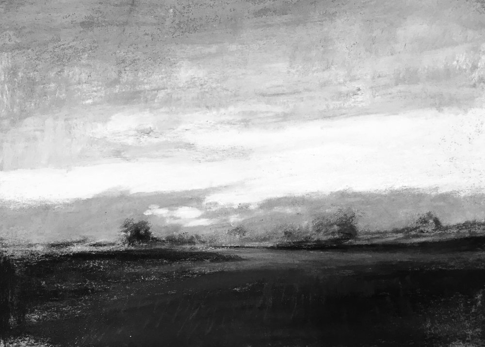 In this black and white version everything below the horizon line moves toward a dark value mass because as the sun sets, everything goes into a silhouette on the land making it simple to see it as a darker value.  The sky in light is painted as a LIGHT value initially. I've massed the cloud patterns as a medium value giving you three distinct shapes in the three different values of the first triad.     Next, I started to play with the size of each mass slightly allowing a dominant shape and value to appear.    By increasing the medium value so that all three values are not of. equal importance as they appear to be in the above scene the composition of my painting is improving a bit. In the finished piece (pictured in the next lesson and also on my home page) you can see how I have furthered this mission by playing with this concept of dominant value and shape even more.    Fill out the form below to learn about the next triads and see how this painting was improved.