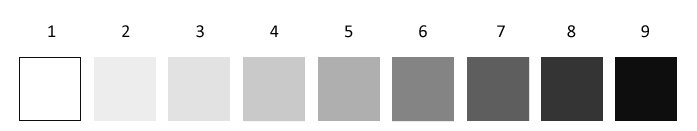 1. white  2. High Light  3. Light 4. Low Light 5. Medium 6. High Dark  7. Dark  8.Low Dark.  9 Black
