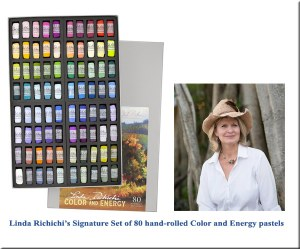Signature Set of Pastels, Linda Richichi Color and Energy                                                                   2018   Jack Richeson Art Company offers you the Linda Richichi Signature  Color & Energy Set of 80 pastels. Included in this selection of colors are   prismatic and beautiful neutrals. You can set up the box up so that the light, medium and dark colors are in order according to the color spectrum. Take all the colors out of the box and then following the chart included,  you can put them in the proper order by following the numbers.    Click here to order them from in2art.com or visit Art & Frame of Sarasota, FL.