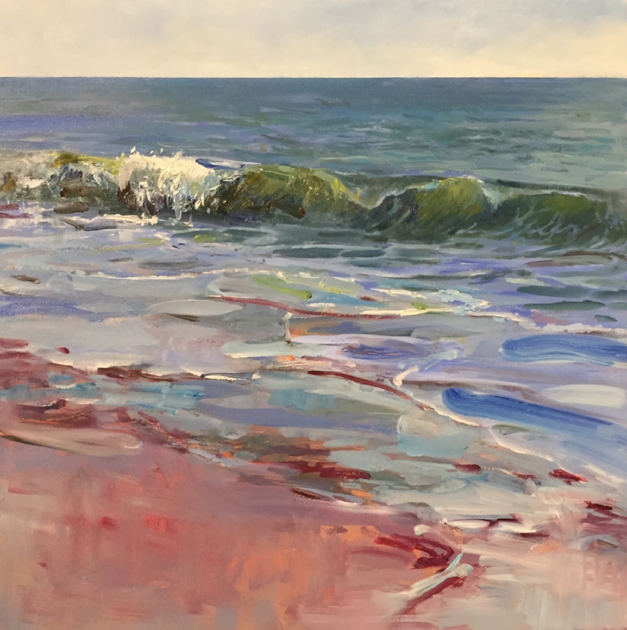 "Summer Wave 16"" x 16"" Oil on canvas found at Nikki Sedacca Gallery, Edgartown, MA"