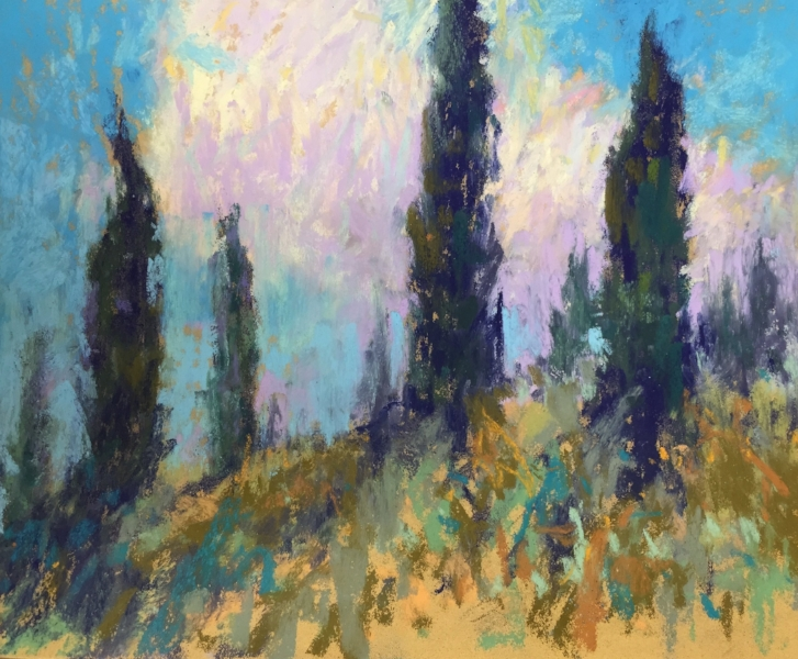 "This recent painting of Cypress Trees in Cortona is really an excuse to use color to lift our spirits. Standing Guard   8"" x 10"" Pastel  $875  530 Burns Gallery, Sarasota, FL"
