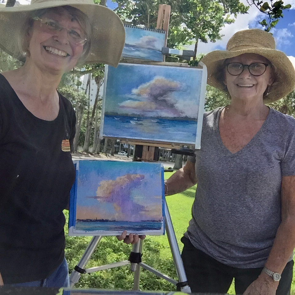 Linda Richichi and Maura Casorio painting on Saturday, Sept. 8th.