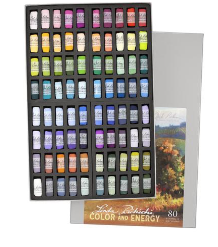 How do you select which pastels from hundreds and hundreds of colors? This 80 piece hand rolled Soft Pastel Signature Set with Linda's favorite colors is suggested for the workshop. They are ready to be shipped from Art and Frame of Sarasota. To order  http://www.in2art.com/store/product/182455/Linda-Richichi%27s-Color-%26-Energy-80-Pastel-Set/