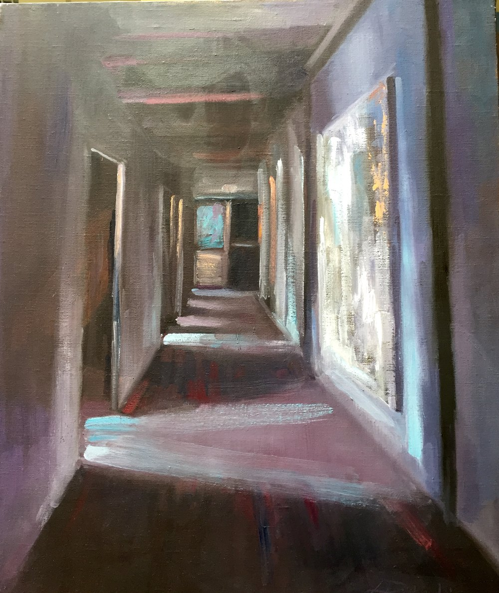 """This was painted in the hallway while studying at the Lattimore studio during one three hour session.  In the collection of the artist. 20"""" x 16"""" Open Acrylic"""
