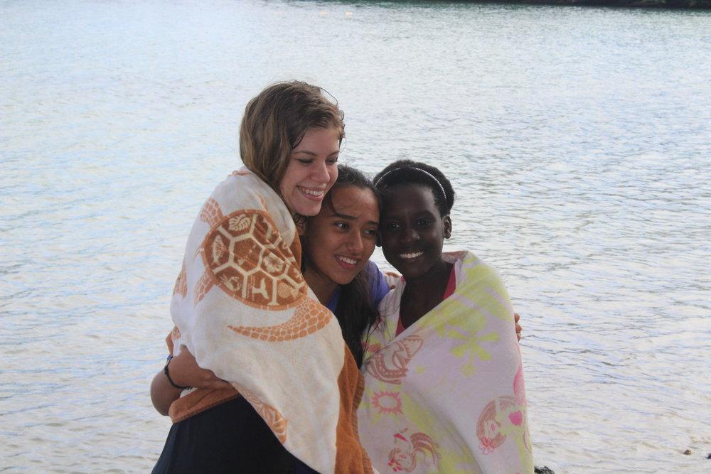 Clara, Kaitlin, and Phoebe celebrating