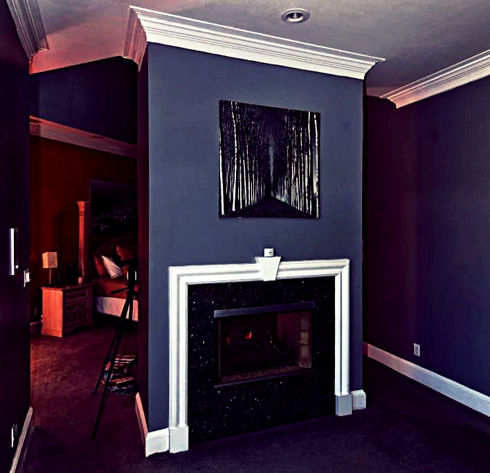 master bedroom with dual fireplace