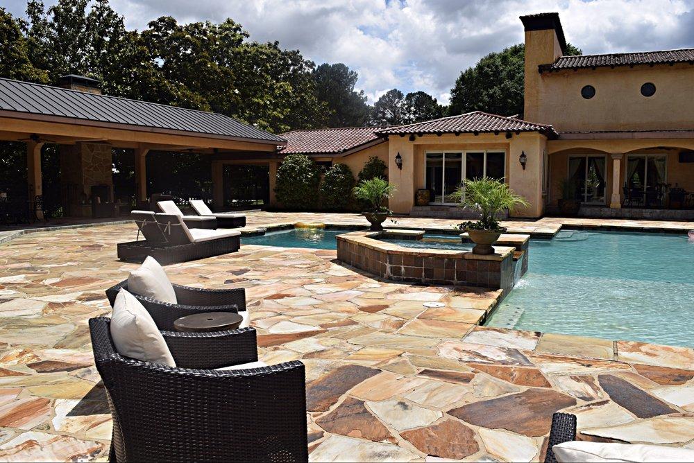 Pool House Entrance & Hot Tub