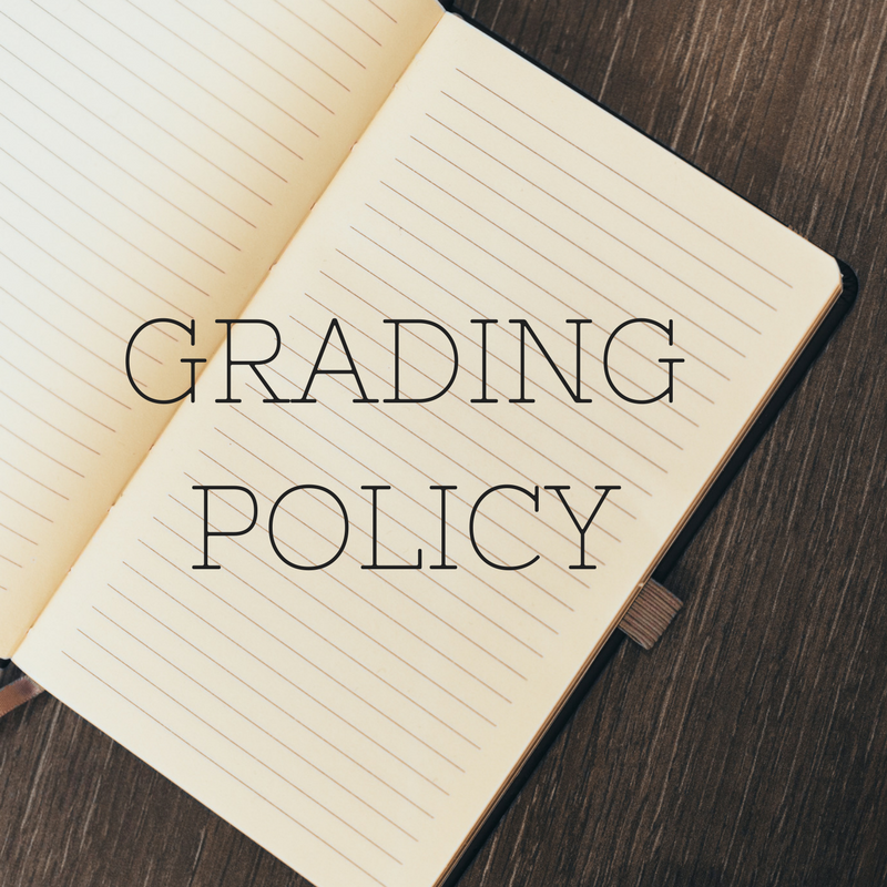 "[Image: black font with ""Grading policy"" in capital letters, with a college-ruled notebook in the background]"