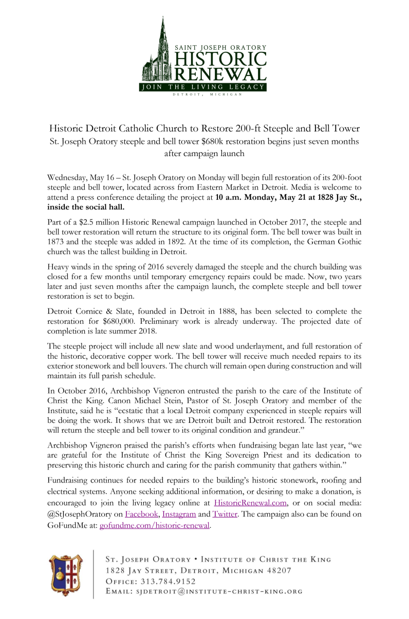 Oratory Press Release: May 16, 2018