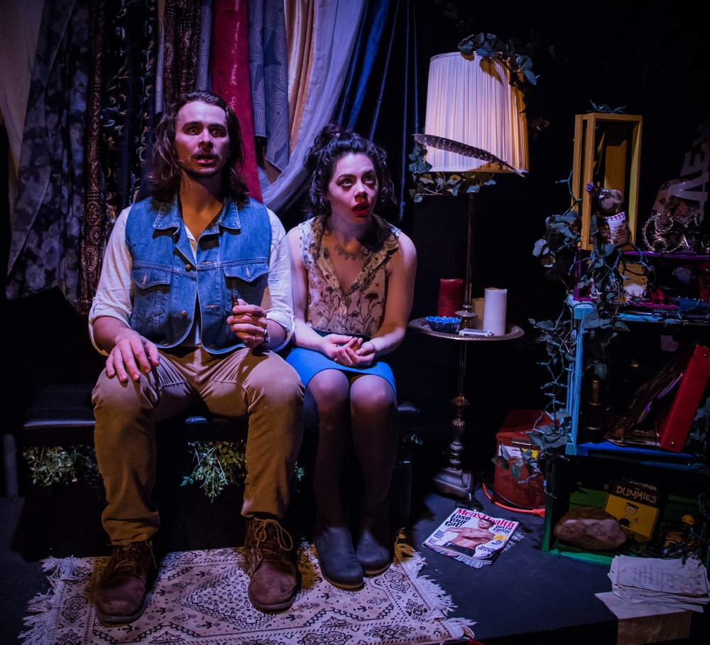 "Rob (James Jelkin*) and Faye (Elizabeth Skopel) share some Rosemary for Remembrance in Ophelia Theatre Group's ""sequel"" to A Midsummer Night's Dream.  Some Night by Sarah Victoria Bennett was performed at Ophelia Theater in Astoria, New York. Photography courtesy of  John Robert Hoffman . *appearing courtesy of Actor's Equity Association"
