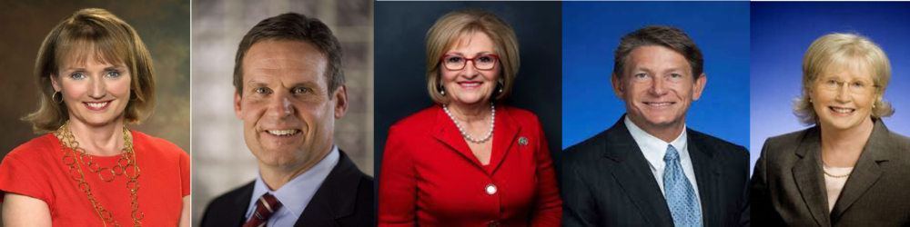 A FLURRY OF CANDIDATES  : (Left to Right) Beth Harwell, Bill Lee, Diane Black, Randy Boyd, and Mae Beavers make up the five Republican candidates for governor of Tennessee. The republican Primary will be held in the summer of 2018 and the final election for Governor of Tennessee will be on November 6, 2018.