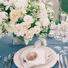French Blue - A dreamy wedding in hues of French blue, creme and gold set against the Sunstone Villa. Flowers by Kelly Kaufman, photos by Kurt Boomeropen gallery
