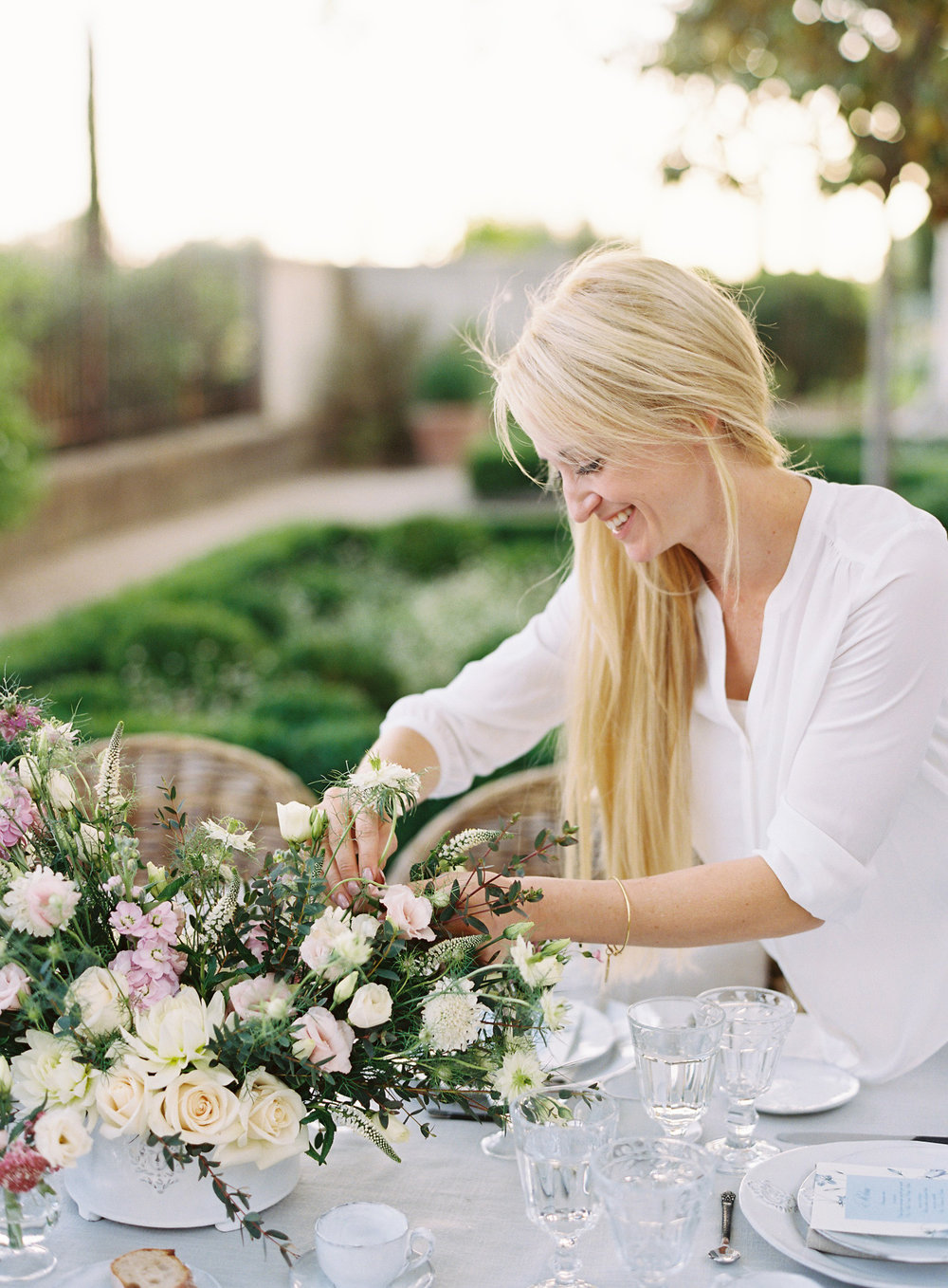 Kimberly Sisti perfecting the flowers