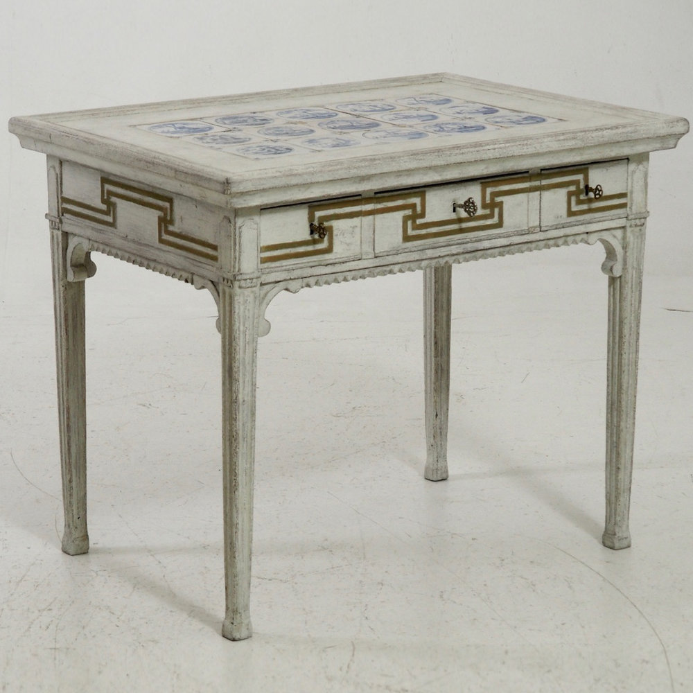 Very Fine Freestanding Tile Top Table, Richly Carved And With Original  Guilt, Circa 1770.