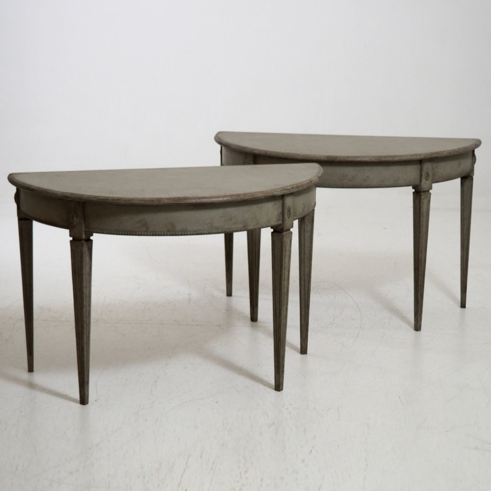 Pair Of Large Gustavian Style Demi Lune Tables, 19th C.