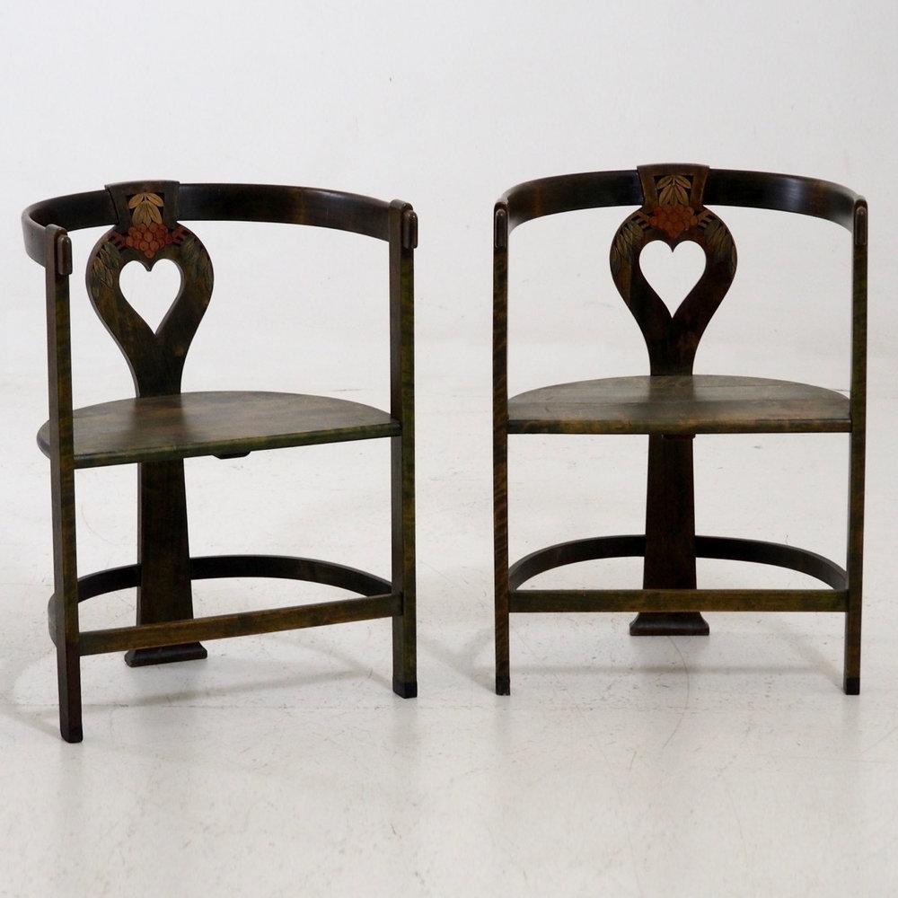 Pair of art nouveau chairs, circa 1910. - € 600