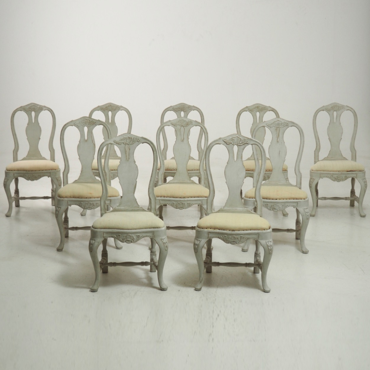 13251 13d A Very Fine Set Of Ten Carved Large Rococo Chairs Circa