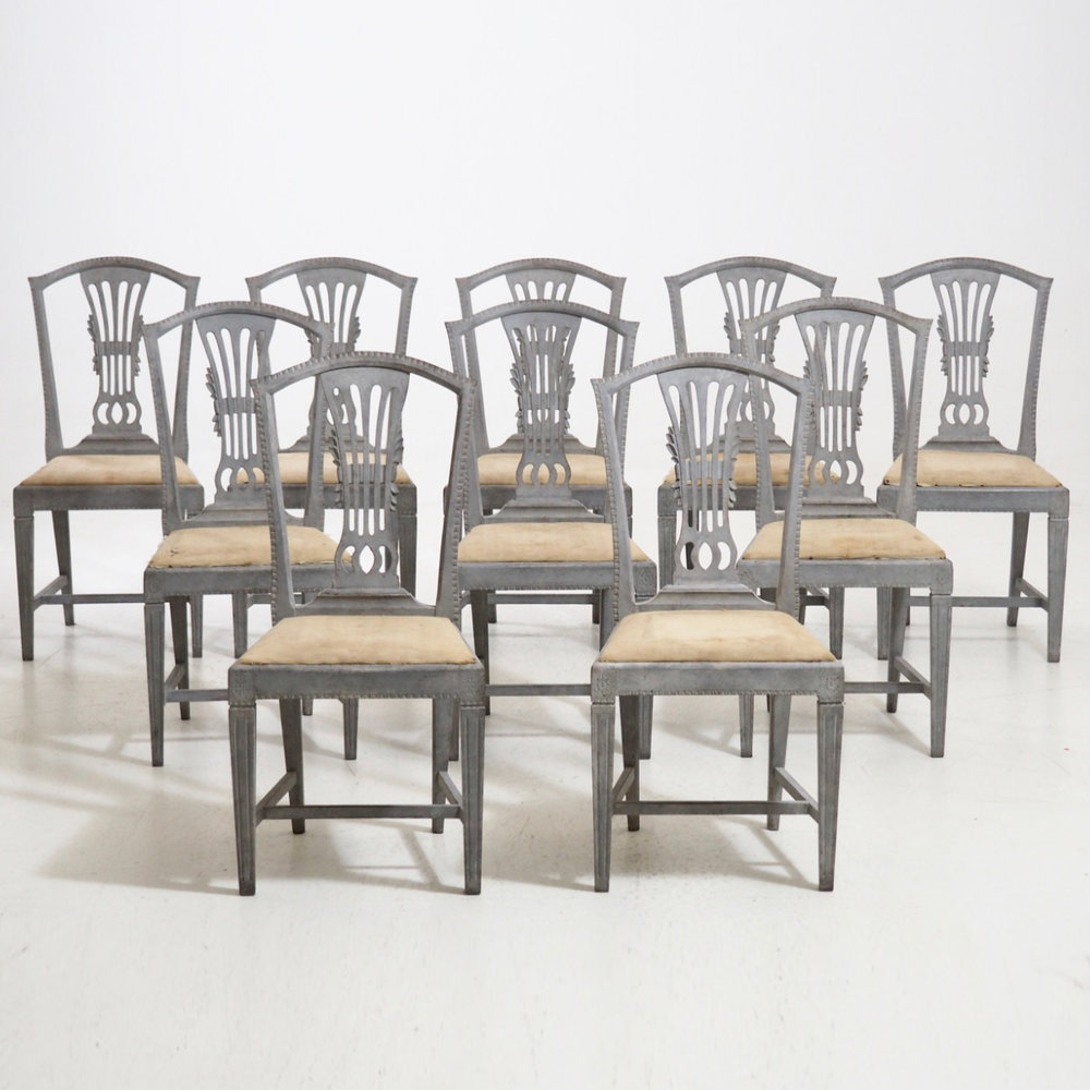 Very Fine Set Of Ten Gustavian Style Chairs, Circa 100 Years Old.