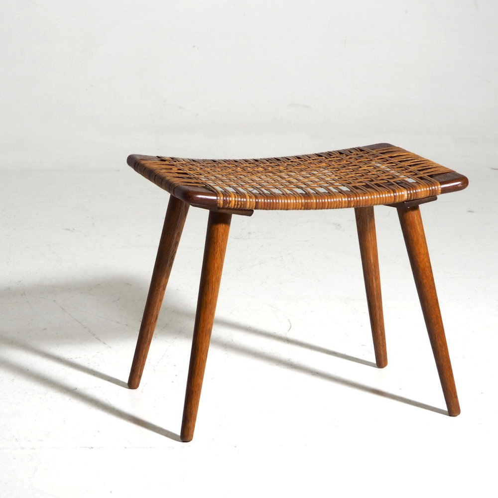 Rare Danish Teak Stool With Woven Cane Seat In Hans J Wegner Style Circa 1960