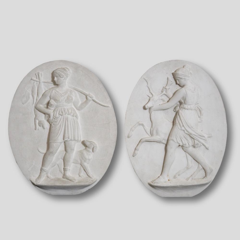 Plaster reliefs, after Bertel Thorvaldsen. - € 500