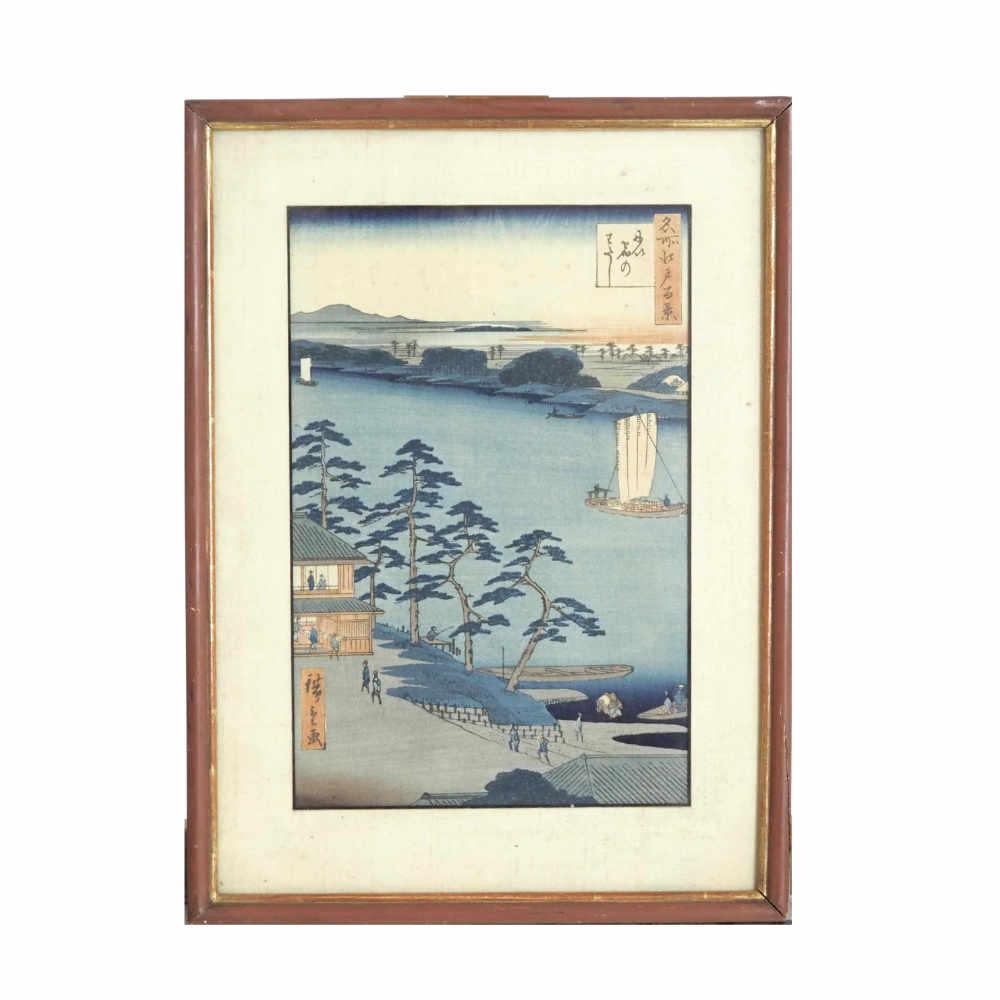 Hiroshigé woodcut, Nijuke ferry, 19th C. - € 600
