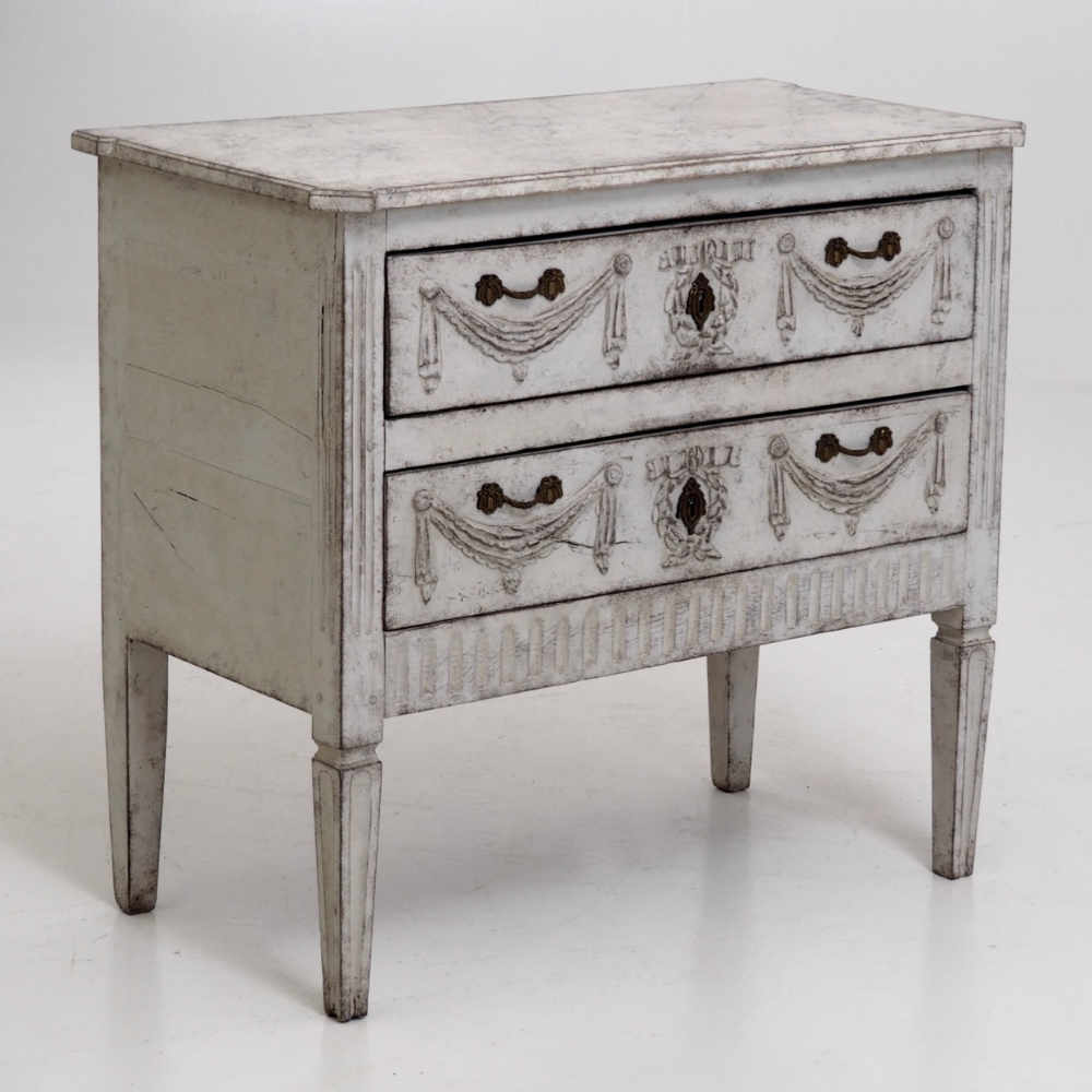 Superbe 12568 5D Very Rare Gustavian Chest, With Beautiful Carvings And Old Locks.  Faux Painted Marble Top, Circa 1800   10