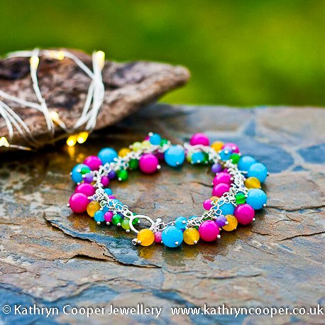 Multi-coloured jade silver bracelet