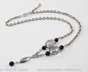 Crystal & Onyx Silver Necklace