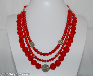 Red coral and silver 3 strand necklace