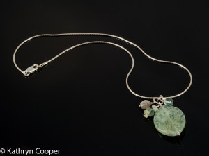 Prehnite Pendant with Aquamarine Sterling Silver Necklace