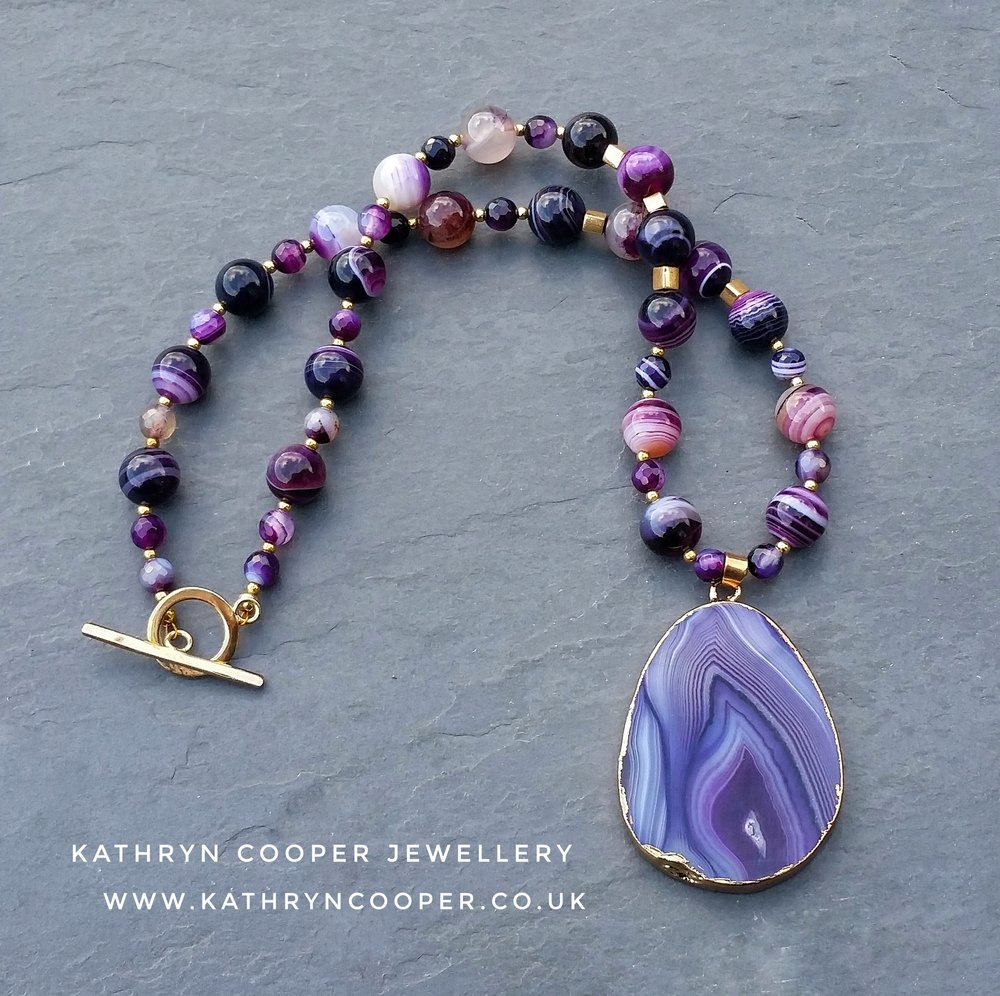 Purple Agate slice necklace
