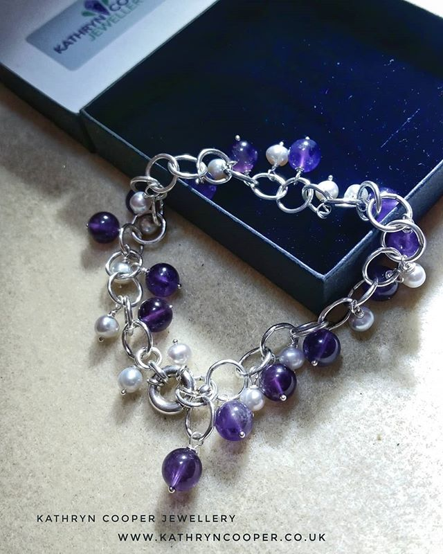 First make on the new jewellery work bench is this pretty natural amethyst and freshwater pearl sterling silver bracelet,  made for a special lady.  Perfect for day 2 of the @jewellersacademy  #30daysofjewellery challenge. 💜💜💜💜 . . . . . . #pearls #bespokejewellery #silverpearls #jewelleryshopping #pearljewellery #jewelleryaddict #hmuk #amethysts #amethystjewellery  #madeinbritain #birthstone #ukblogger  #kathryncooperjewellery #blogger  #weddingjewellery #myjewelleryfamily  #outfitinspiration  #jewelleryinfluencer #whattowear #wswib #hlhjune #giftsforher #birthdaygift  #jewellerylover #beadedjewelryofinstagram #beadedjewelryinfluencer #junebirthstone