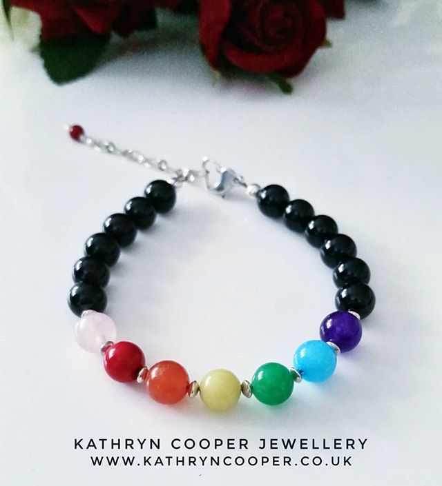 Really happy with how this bespoke rainbow design bracelet in coloured #jade, #amethyst and #rosequartz has turned out, which is a commission piece for the fabulous @shewhobakes.1 💖  Please get in touch for bespoke jewellery.  Xxxx ❤💛💜💚💙 . . . . . . . #rainbow #rainbowjewellery #rainbowvibes #colourfulbracelets #wishlists #uniquejewelry #buyhandmade #bohovibes #rainbowjewels #jadejewellery #rainbowjewelry #bespokejewellery #multigemstone #gemstonejewellery #jewelleryaddict #madeinbritain  #ukblogger  #kathryncooperjewellery  #myjewelleryfamily  #jewelleryinfluencer  #giftsforher  #jewellerylover #beadedjewelryofinstagram #beadedjewelryinfluencer