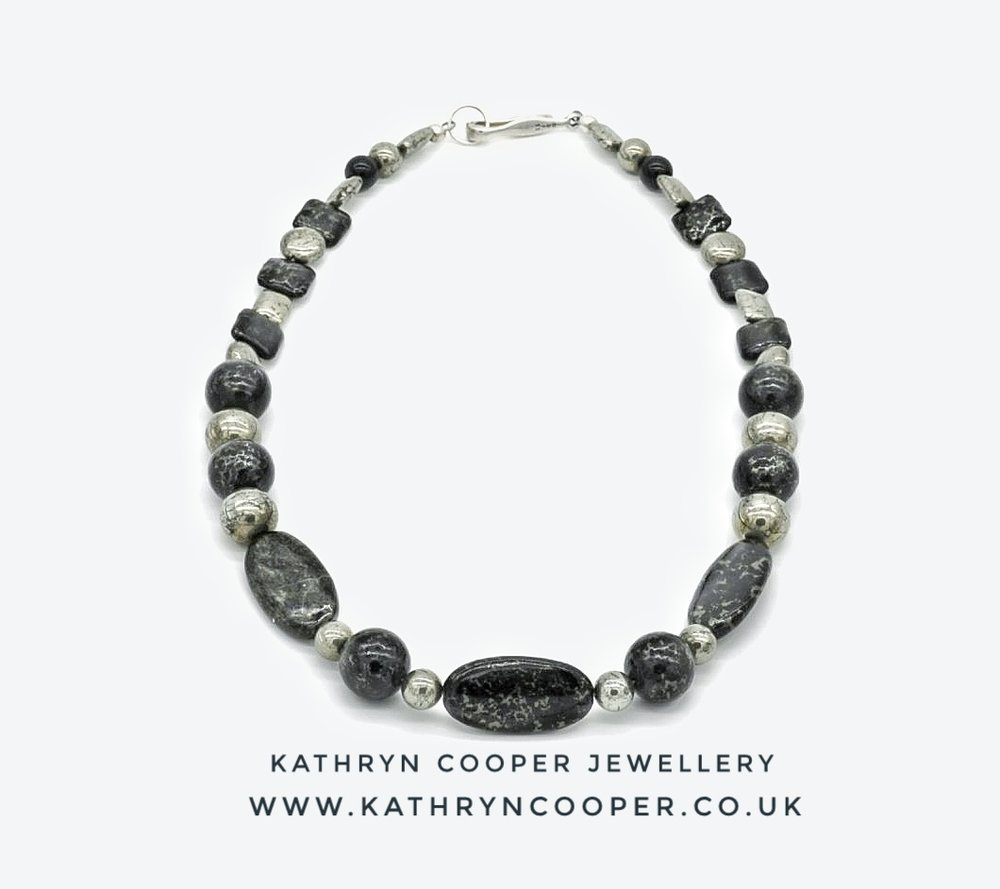 Jet in Pyrite Necklace